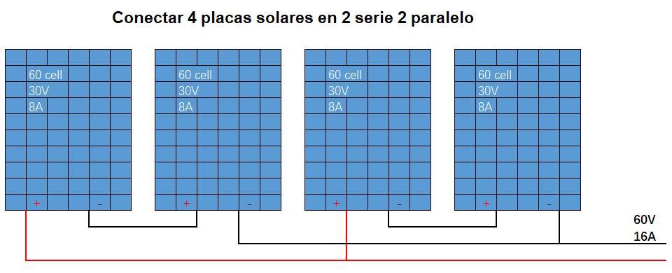 Conectar 4 placas solares en 2 serie 2 paralelo
