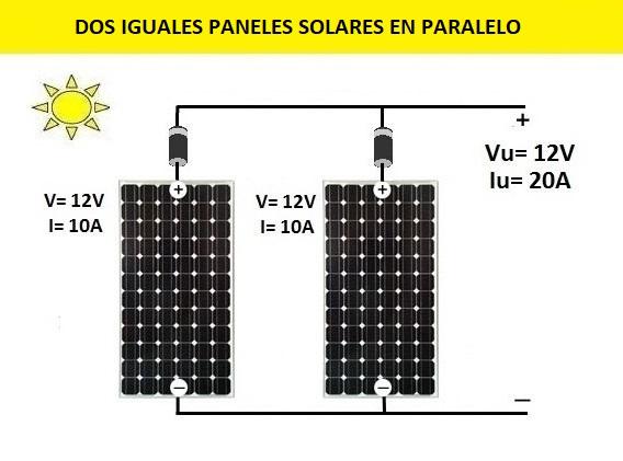 Para conectar 2 placas solares en paralelo