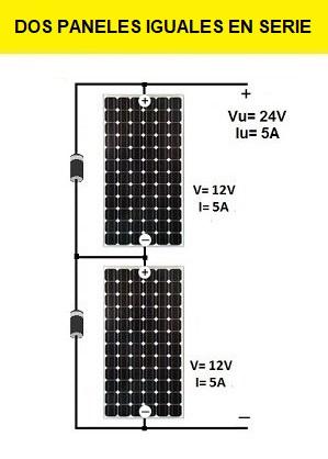 Para conectar 2 placas solares en serie
