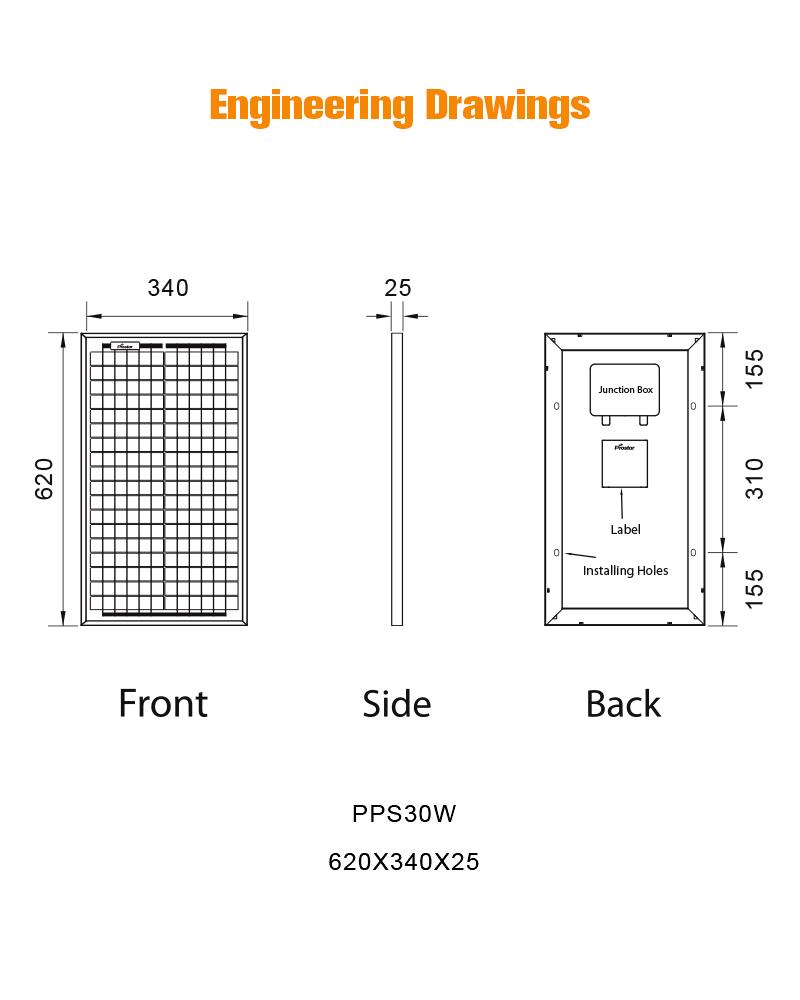PPS30W energia renovable panel solar 30w policristalino 12v
