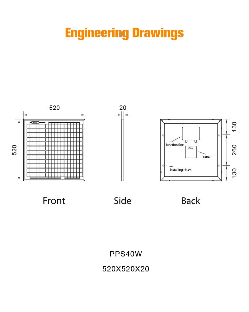 PPS40W electricidad panel solar policristalino 40w precio