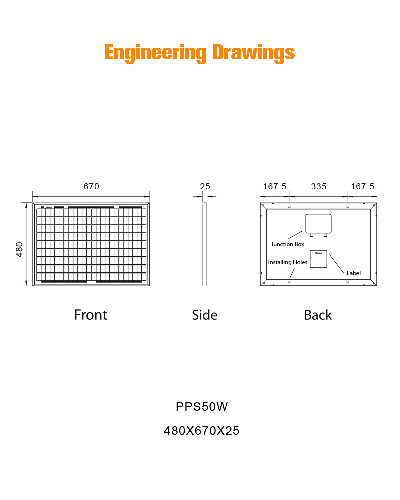 PPS50W panel solar 50W 12V policristalino