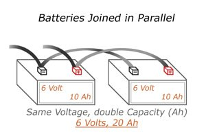 batteries How to connect batteries in series or in parallel? 6 Volts Batteries joined in a parallel