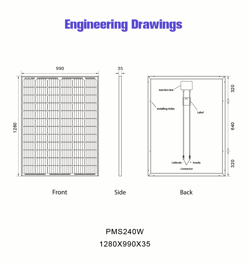 240 Watt Solar Panel Drawing