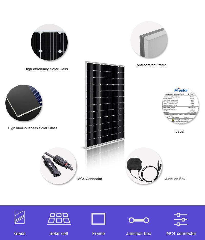 renewable power 260w solar panel monocrystalline 24v details