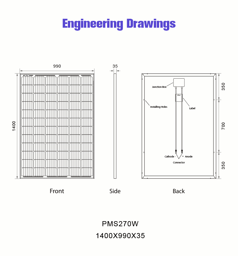 renewable energy source photovoltaic solar panel 270w drawing