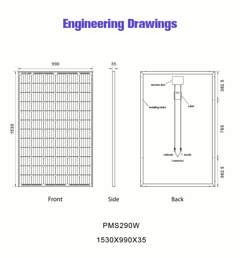290w solar panel monocrystalline drawing