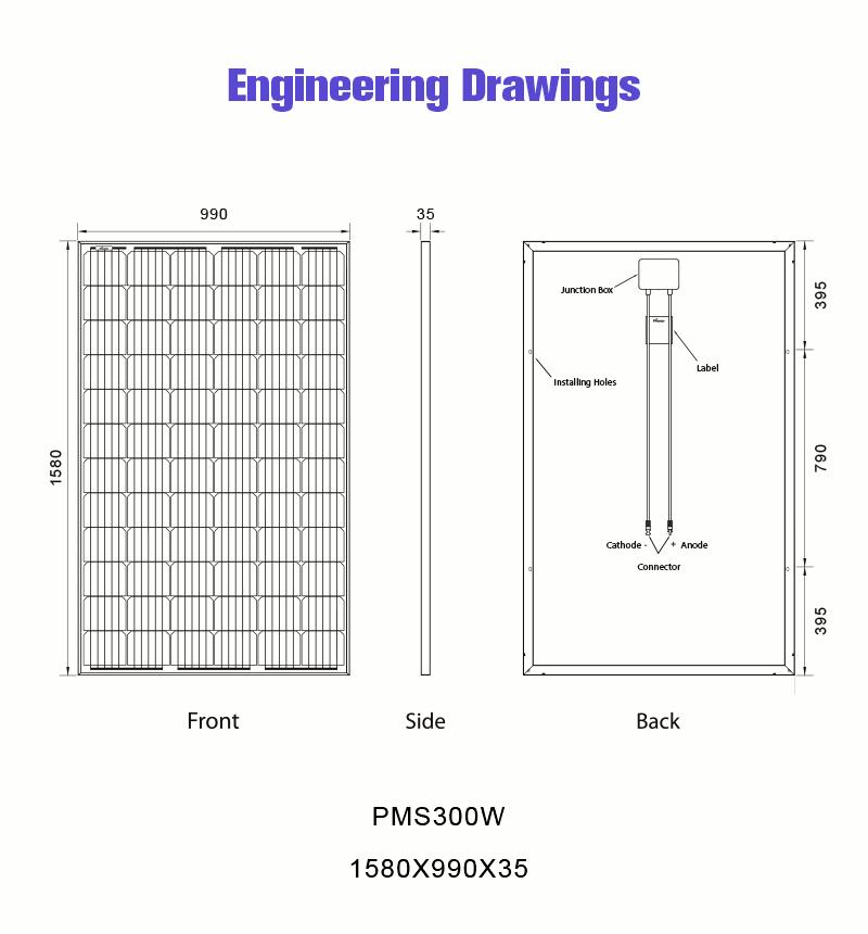 300w monocrystalline solar panel drawing