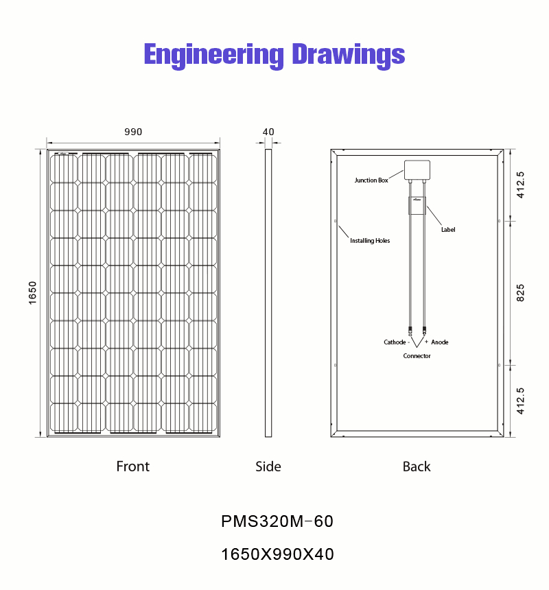 60 cell 320w mono solar panel