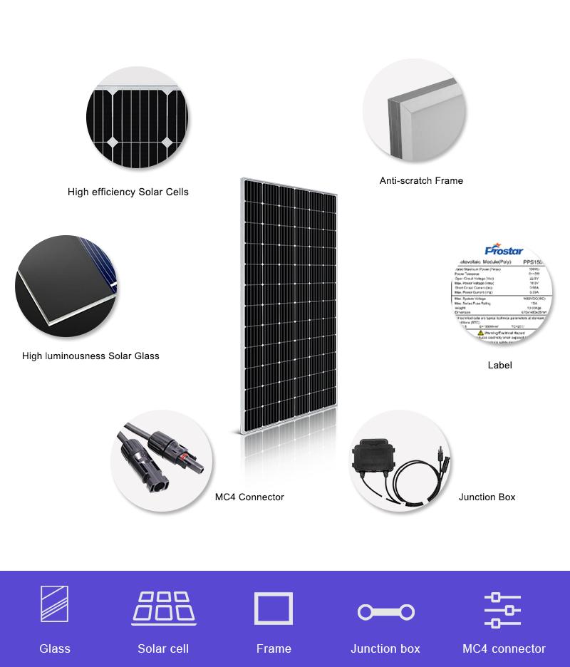 commercial mono crystalline solar panel 365w