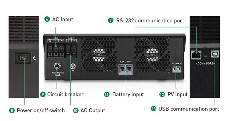 Off-grid Solar Inverter PV 500V Connection Terminal