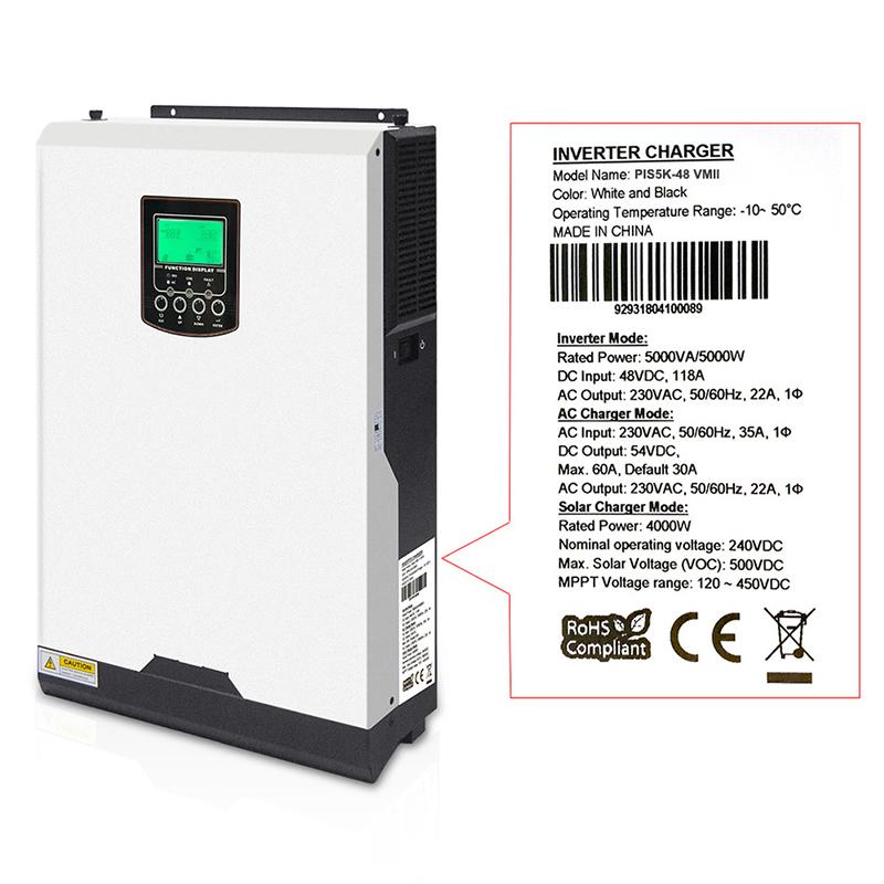Off-grid Solar Inverter PV 500V Label